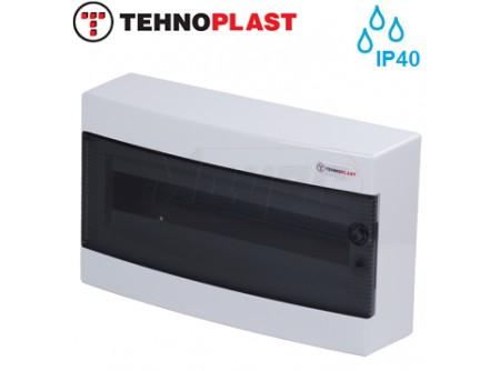 Falon kívüli kiselosztó doboz, C sorozat, 18 modulos,átlátszó ajtó-1soros,396x236x112mm,IP40  THP-N18C