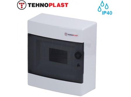 Falon kívüli kiselosztó doboz, C sorozat, 8modulos,átlátszó ajtó-1soros,215x236x102mm,IP40  THP-N8C