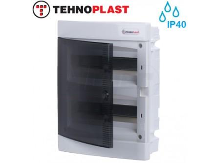 Süllyesztett kiselosztó doboz, C sorozat, 24modulos,átlátszó ajtó-2soros,283x357x70mm,IP40  THP-U24C