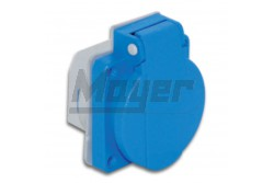Beépíthető műanyag dugalj csapfedeles kék 16A (40db/doboz, 4db/cs)  3101-310-0900  - Háztartási beépíthető dugalj - IP44 - 2P+F, 16A
