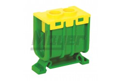 Fővezeték bekötő 35mm2 imbuszcsavaros 125A-ig zöld/sárga (25db/doboz)  3197-125-0700  - Pólus: 1P - Névleges áram: 125A - Max.vezeték méret: 35mm2 - Színe: zöld/sárga