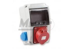 Ipari doboz szerelt 130x220 1x(5P32A) + 2x(2P+F) oldalsó IP44  3318-002-7000  - Szerelt ipari doboz - 2db 2P+F háztartási dugalj - 1db 4P 32A ipari dugalj - Méret: 130x220mm - Modul száma: 6 - IP44