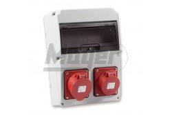 Ipari doboz szerelt 220x300-1x(5P16A)+1x(5P32A) IP44  3320-000-5700