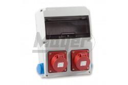 Ipari doboz szerelt 220x300 2x(5P16A) + 2x(2P+F) oldalsó IP44  3320-002-5500  - Szerelt ipari doboz - 2db 2P+F háztartási dugalj - 2db 5P 16A ipari dugalj - Mérete: 220x300mm - Modul száma: 11 - IP44