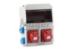 Ipari doboz szerelt 220x300 2x(5P16A)+4x(2P+F)oldalsó IP44  3320-004-5500  - Szerelt ipari doboz - 4db 2P+F háztartási dugalj - 2db 5P 16A ipari dugalj - Mérete: 220x300mm - Modul száma: 11 - IP44