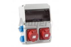 Ipari doboz szerelt 220x300-1x(5P16A)+1x(5P32A)+4x(2P+F)oldalsó IP44  3320-004-5700  - Szerelt ipari doboz - 4db 2P+F háztartási dugalj - 1db 5P 16A ipari dugalj - 1db 5P 32A ipari dugalj - Mérete: 220x300mm - Modul szám: 11 - IP44