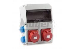 Ipari doboz szerelt 220×300 2×(5P32A) +4×(2P+F) oldalsó  3320-004-7700  - Szerelt ipari doboz - 4db 2P+F háztartási dugalj - 2db 5P 32A ipari dugalj - Mérete: 220x300mm - Modul száma: 11 - IP44