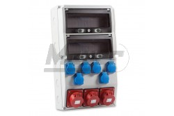 Ipari doboz szerelt 300x540mm,IP54,6x(2P+F) + 3x(5P16A), 2x13modul  3321-600-0503  - Szerelt ipari doboz - 6db 2P+F háztartási dugalj - 3db 5P 16A beépíthető ipari dugalj - Mérete: 300x540mm - Modul szám: 2x13 - Védettség: IP44