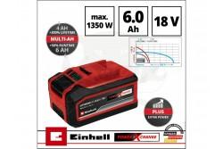 Einhell Akkumulátor 18V 4-6Ah Power-X-Change  4511502  Einhell Akkumulátor 18V 4-6Ah Power-X-Change Valamennyi Power X-Change készülékhez használható: Költséghatékony, környezetkímélő, maximális rugalmasságot biztosító megoldás ház körüli és kerti munkákhoz MULTI-Ah technológia: 6 Ah (max. teljesítmény) és 4 Ah akkumulátor (hosszú élettartam) üzemmódok közül választhat, óvja az akkumulátort és így 3x hosszabb élettartamot biztosít Az akku töltöttségi szintjét %-os formában, a digitális kijelzőn ellenőrizheti Továbbfejlesztett cellák, 100%-kal nagyobb teljesítmény, maximális erőátvitel PLUS technológia: több erő a teljesítményintenzív munkákhoz A folyamatvezérelt akkumulátor felügyeleti rendszer (ABS) maximális biztonságot, optimális teljesítményt, üzemidőt és élettartamot garantál Kábelek nélküli munkavégzés, bárhol, bármikor Nincs memória-effektus a kiváló miniőségű lítium-ion celláknak köszönhetően Mélykisülés elleni védelem, egyenletes teljesítmény Nagyfokú ütésvédelem és biztos fogás a gumírozott burkolatnak köszönhetően Süllyesztett fogantyúk az akku egyszerű kivétele érdekében  Pornak, rozsdának és fizikai behatásoknak ellenálló kivitel 36 V (TWIN-PACK) feszültséget igénylő alkalmazásokhoz Műszaki adatok Egyenáram 18 V Akkumulátor kapacitása 6 Ah Max. teljesítmény 1350 W Akkumulátorok száma 1 db Logisztikai adatok Termék súlya (kg) 1.01 Egyedi csomagolás mérete 93 mm x 82 mm x 182 mm