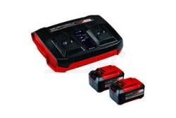Einhell 2x5,2Ah & Twinchanger Kit PXC-Starter Kit  4512108  Einhell 2x5,2Ah & Twinchanger Kit PXC-Starter Kit Műszaki adatok Maximális teljesítmény: 720 W Feszültség: 18 V Töltési idő: 50 perc Töltőkészülék csatlakoztatása: 200-250 V   50-60 Hz Töltőkészülék kimeneti feszültsége: 20 V Akkumulátor kapacitás: 2.5 Ah Akkumulátorok száma a csomagban: 1 db Logisztikai adatok Nettó súly: 0.82 kg Bruttó súly: 0.9 kg Egyedi csomagolás mérete: 165 mm x 85 mm x 139 mm Termékjellemzők (töltőkészülék): Kompakt kialakítású, rendkívül helytakarékos kivitel Rövid töltési ciklus a gyorstöltő technológiának köszönhetően Folyamatos akkumulátor felügyelet az optimális töltési folyamat biztosítása érdekében Frissítő (Refresh) üzemmód a mélykisült akkumulátorok újbóli üzembe helyezéséhez Nagyfokú biztonság az intelligens töltésfelügyelet révén Hatfokozatú töltöttségi szint jelző LED az aktuális állapot ellenőrzéséhez Felhasználóbarát, falra szerelhető megoldás az integrált akasztószemeknek köszönhetően Termékjellemzők (akkumulátor): A folyamatvezérelt akkumulátor felügyeleti rendszer (ABS) maximális biztonságot, optimális teljesítményt, üzemidőt és élettartamot garantál Kábelek nélküli munkavégzés, bárhol, bármikor Nincs memória-effektus a kiváló miniőségű lítium-ion celláknak köszönhetően Mélykisülés elleni védelem, egyenletes teljesítmény 3 fokozatú LED az aktuális töltöttségi szint megjelenítéséhez Süllyesztett fogantyúk az akku egyszerű kivétele érdekében Pornak, rozsdának és fizikai behatásoknak ellenálló kivitel 36 V (TWIN-PACK) feszültséget igénylő alkalmazásokhoz Valamennyi Power X-Change készülékhez használható Költséghatékony, környezetkímélő, maximális rugalmasságot biztosító megoldás ház körüli és kerti munkákhoz