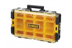 DeWALT TOUGHSYSTEM tárolódoboz DS100 átlátszó  DWST1-75522  Könnyen egymásba illeszthető, az egyszerű szállítás érdekében    a kivehető rendszerező rekeszek flexibilis elrendezést biztosítanak, a víztömítés védelmet nyújt a víz és por ellen, a polikarbonát fedél ütésállóságot biztosít.  Szélesség543mm Magasság100mm Mélység350mm