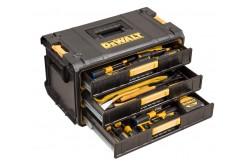 DeWALT TOUGHSYSTEM 2 - és 3 fiókos tárolódoboz  DWST1-81055  Az új tartós Toughsystem™ két- és háromfiókos modulok rendkívül nagy kapacitásúak, víz- és porállóak, a legnehezebb szabadtéri munkaterületeken is használhatók. Minden DeWalt Toughsystem™ tárolóegységgel kompatibilis. Szélesség:554 mm  Magasság:340 mm  Mélység:307mm  Teherbírás (fiókonként):7kg