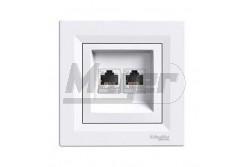 ASFORA 2xRJ45 Cat5e UTP aljzat, fehér  EPH4400121
