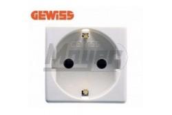 GEW 20265 2+F dugalj  GEW-20265  2P+F földelt dugalj  2 modul szélesség feszültség: 250V AC  terhelhetőség: 16A  szín: fehér  méret: 46 x 46 x 41 mm