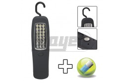 Stekk lámpa 27db LED felakasztható 18620B  GL-18620  - 24 db nagy fényerejű LED - LED élettartam 80.000 óra - Por- és cseppálló be- kikapcsoló gomb - Gumírozott lámpatest - 360°-ban forgatható akasztófül - Mágnes tappancs a hátoldalon  - Működéshez szükséges 3 db AA méretű elem