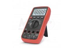 """Digitális multiméter 25303  GL-25303  Általános multiméter, hőmérséklet- és frekvenciamérő funkcióval, teljesen automata és gyors méréshatárváltással. A jelalak független """"True RMS"""" mérés és a háttérvilágítással ellátott kijelző segíti a mérési feladatok elvégzését. Strapabíró készülékház és felépítés jellemzi a 300-as sorozat minden tagját.  Kijelző:4 digites DC V:0,1 mV - 1000 V AC V:0,1 mV - 750 V DC A:0,1 µA - 10 A AC A:0,1 µA - 10 A Ellenállás:0,1 ? - 40 M? Kapacitás:10 pF - 100 mF Frekvencia:0,01 Hz - 30 MHz Hőmérésklet:-20 - 1000°C Kitöltési tényező:0,1 % - 99 % Méret:190 x 95 x 40 mm  Tranzisztor teszt Dióda teszt Folytonossági teszt Relatív mérési mód Adattartás Hangjelzés True RMS Automata kikapcsolás Háttérvilágítás Tartozékok: K-típusú átalakító, műszerzsinór, banándugós hőmérőszonda, elem (1 x 9V)"""