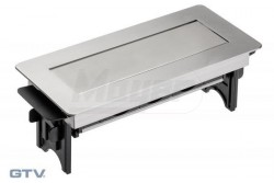 Asztalba süllyeszthető elosztó, rozsdamentes acél ház, fekete dugalj belsővel, IP20, 3x2P+F 3600w  GTV-AE-PBC3GS-51BK  Asztalba süllyeszthető elosztó, rozsdamentes acél ház, fekete dugalj belsővel, IP20, 3x2P+F 3600w Asztalba süllyeszthető irodai elosztó Teljesítmény: max.3600W 3x(2P+F) IP védelem: IP20 Fekete fém ház Vezeték nélküli  Fésűs  csatlakozás Felületét megnyomva kiemelkedik az asztalból