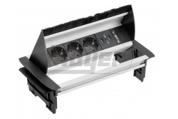Asztalba süllyeszthető elosztó, fekete ALU ház, IP20, 3x (2P+F), 2x USB töltő (5V, 2,1A), SCHUKO  GTV-AE-PBC3GS2U-53BKS  Asztalba süllyeszthető elosztó, fekete ALU ház, IP20, 3x (2P+F), 2x USB töltő (5V, 2,1A), SCHUKO Asztalba süllyeszthető irodai elosztó Teljesítmény: max.3600W 3x(2P+F) 2xUSB töltő (5V,21,A) IP védelem: IP20 Fekete fém ház Vezeték nélküli  Felületét megnyomva kiemelkedik az asztalból Fésűs  csatlakozás