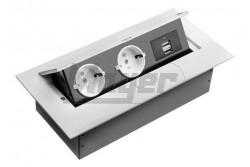 Elosztó 2x230V+2×USB, FEHÉR, asztalba rejtett gombbal kinyítható, fém házas  GTV-AE-PBU02GS-10