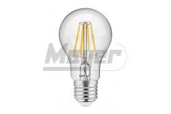 LED fényforrás FILAMENT A60 melegfehér E27 8W AC220-240V normál forma 800lm 70mA  GTV-LD-A60FL8-30  - Foglalat: E27 - Teljesítmény: 8W - Feszültség: 220-240V AC - Fényáram(lm): 800 - Színhőmérséklet: 3000K