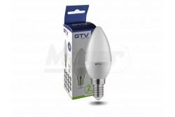 LED izzó E14 8W, gyertya forma, 700lm, melegfehér 3000K  GTV-LD-SMDC37-80