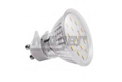 LED izzó GU10  4W, 6400K, 340lm, 120fok  GTV-LD-SZ1510-64  LED izzó GU10  4W, 6400K, 340lm, 120fok LED fényforrás Foglalat: GU10 Teljesítmény: 4W Fényáram: 340lm 43mA Feszültség: 230V/AC Színhőmérséklet: hidegfehér 6400K sugárzási szög: 120fok Működési idő: 40000h Méretek: 58×58mm LED-ek száma:15 LED típusa: SMD2835