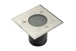 Járdába süllyeszthető lámpatest, ALFA MINI, GU10, 10W, 10x10x7cm, IP67,  inox, négyzet  GTV-ON-ALFAKGU10-06-M
