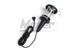 Stekk lámpa 60W E27 fémrácsos üvegbúra 230V IP20 vezetékkel 2×0,75mm2  GTV-OS-KAG508-10