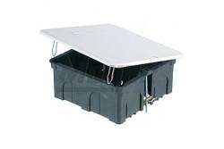 Gipszkarton doboz pattintós fedél 100x100x50mm  JG-2534  - Gipszkarton kötődoboz - Pattintós fedél, fém füllel - Mérete: 200x130x50mm