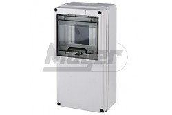 Ipari doboz üres 5M, átlátszó ajtóval, IP65, 123x247x95mm, világos szürke  JG-3509  - Üres ipari doboz - Modul száma: 5 - IP65 - Mérete: 123x247x95mm