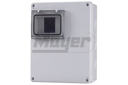 Ipari doboz üres 2-4M, átlátszó ajtóval, IP65, 180x230x80mm  JG-3510  - Üres ipari doboz - Modul száma: 2-4 - IP65 - Mérete: 180x230x80mm