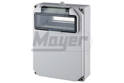 Ipari doboz üres 10M, átlátszó ajtóval, IP65, 230x310x90mm  JG-3511  - Üres ipari doboz - Mérete: 230x310x90mm - Modul száma: 10 - IP65 - Színe: világos szürke