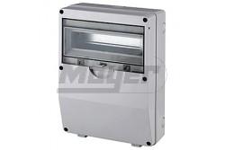 Ipari doboz üres 12M, átlátszó ajtóval, IP55, 260x360x127mm, világos szürke  JG-3512  - Üres ipari doboz - Modul száma: 12 - IP55 - Mérete: 260x360x127mm