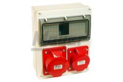 Szerelt 3518 doboz 4-8M átlátszó ajtó, 1x(5P16A) 380V aljzat+1x(5P32A) 380V aljzat  JG-35130  - Szerelt ipari doboz - 1db (5P16A) - 1db (5P32A) - Modul száma: 8 - Védettség: IP65