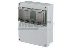 Ipari doboz üres 4-8M, átlátszó ajtóval, IP65, 180x230x80mm  JG-3518  - Üres ipari doboz - Modul száma: 4-8 - IP65 - Mérete: 180x230x80mm