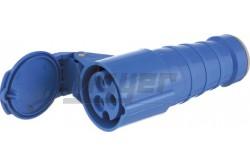 Ipari lengő dugalj 2P+F 32A, 220V, kék, 50-60Hz, IP44  JG-424  - Ipari lengő dugalj - 2P+F 32A - Feszültség: 220V - Színe: kék - Védettség: IP44