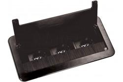 Asztalba süllyeszthető irodai elosztó, IP20, 3x (2P+F), fekete, max 3600W, 1,5m kábel  OR-AE-13127(GS)/B