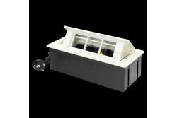 Asztalba süllyeszthető irodai elosztó, cserélhető modulok, 3x (2P+F), fehér  OR-GM-9010/W