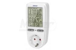 Fogyasztásmérő, digitális, dugaljba dugható, 16A, 3680W, LCD kijelző, SCHUKO  OR-WAT-435(GS)
